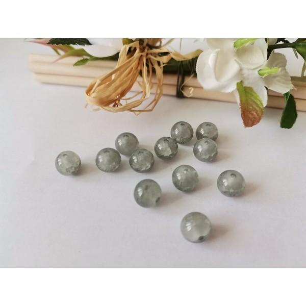 Perles en verre peint craquelé 8 mm grise x 20 - Photo n°3