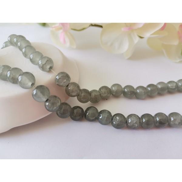 Perles en verre peint craquelé 8 mm grise x 20 - Photo n°1