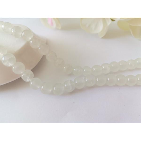 Perles en verre craquelé peint 8 mm blanche x 20 - Photo n°1