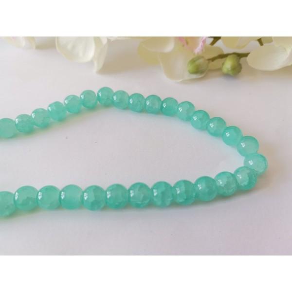 Perles en verre craquelé peint 8 mm vert clair x 20 - Photo n°2