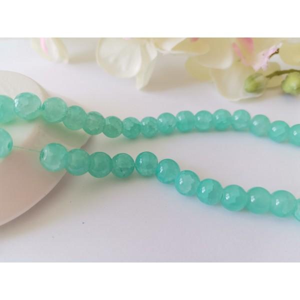 Perles en verre craquelé peint 8 mm vert clair x 20 - Photo n°1