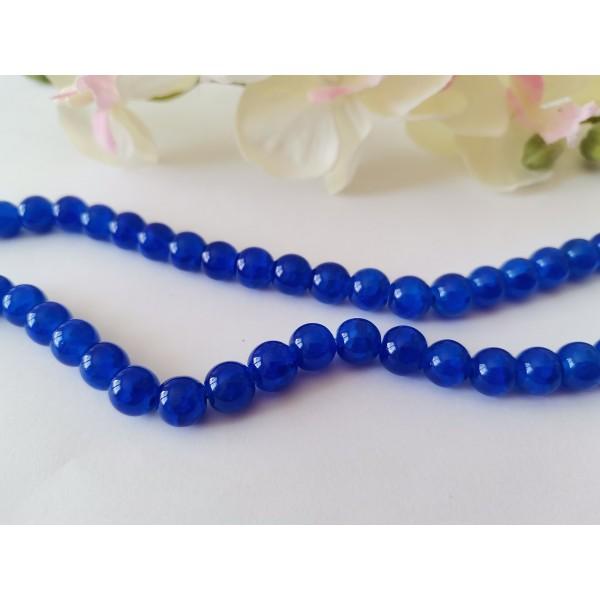 Perles en verre craquelé peint 8 mm bleu nuit x 20 - Photo n°2