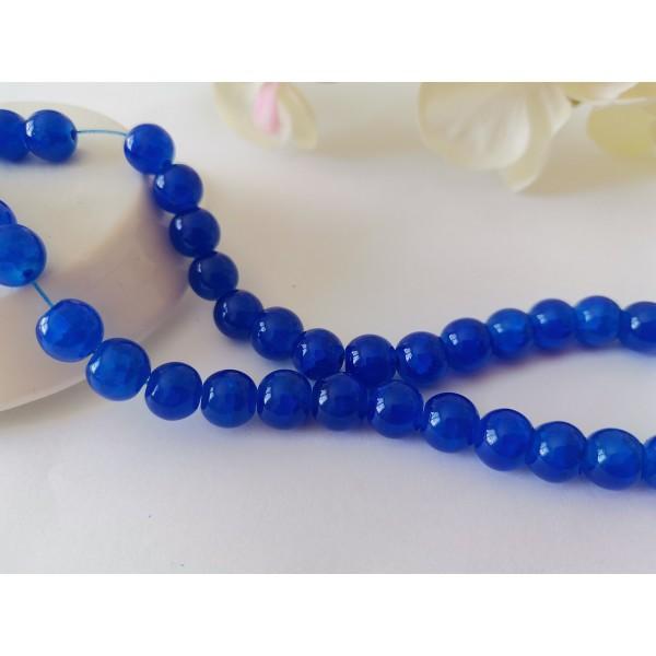 Perles en verre craquelé peint 8 mm bleu nuit x 20 - Photo n°1