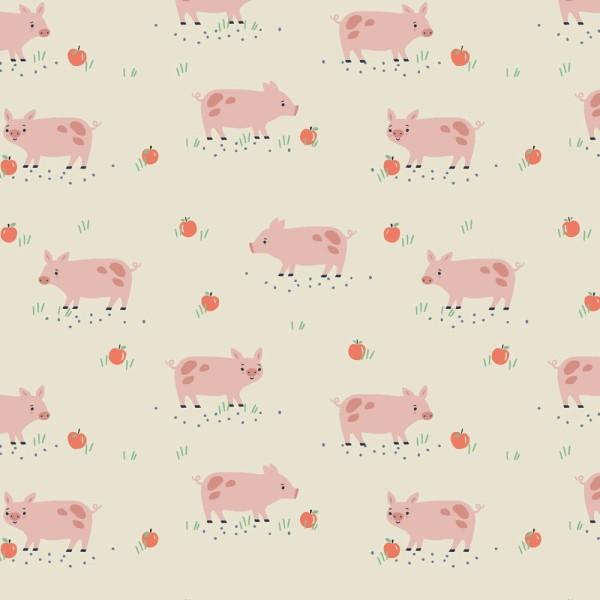 Tissu quilting Dashwood studio - FARM DAYS - cochon rose - coton - 10cm/laize - Photo n°1