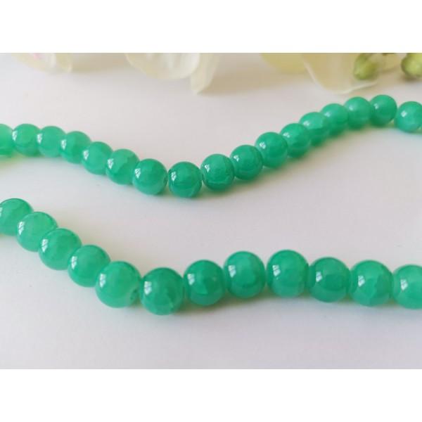 Perles en verre craquelé peint 8 mm vert turquoise x 20 - Photo n°2