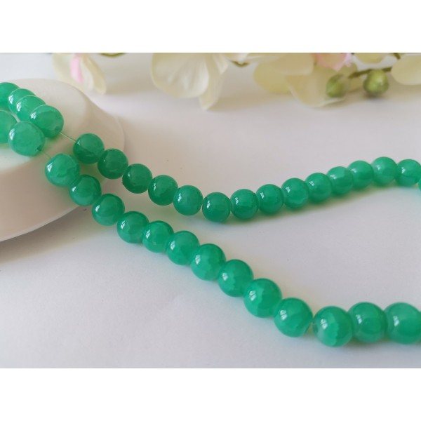 Perles en verre craquelé peint 8 mm vert turquoise x 20 - Photo n°1