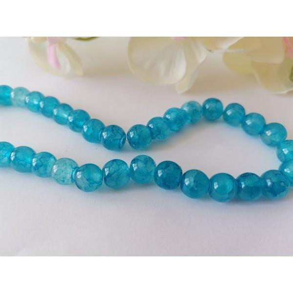 Perles en verre craquelé peint 8 mm bleu ciel x 20 - Photo n°2