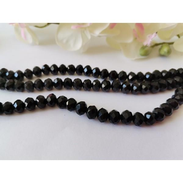 Perles en verre à facette 8 x 6 mm noire x 20 - Photo n°2