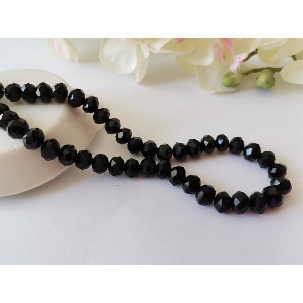Perles en verre à facette 8 x 6 mm noire x 20 - Photo n°1