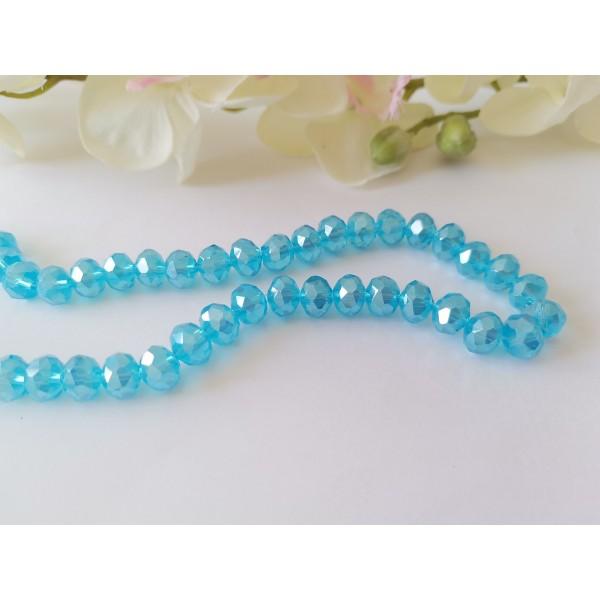 Perles en verre à facette 8 x 6 mm bleu clair AB x 20 - Photo n°1