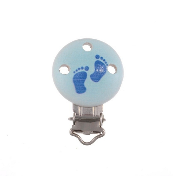 Clip Pince Attache Tetine en Bois Rond 3cm Motif Pied Bleu Creation Attache tetine - Photo n°1