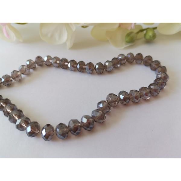 Perles en verre à facette 8 x 6 mm gris taupe AB x 20 - Photo n°1