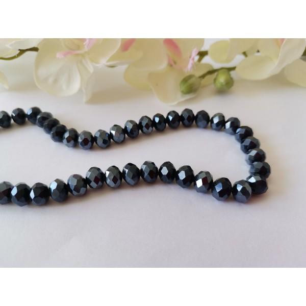 Perles en verre à facette 8 x 6 mm gris noir AB x 20 - Photo n°1