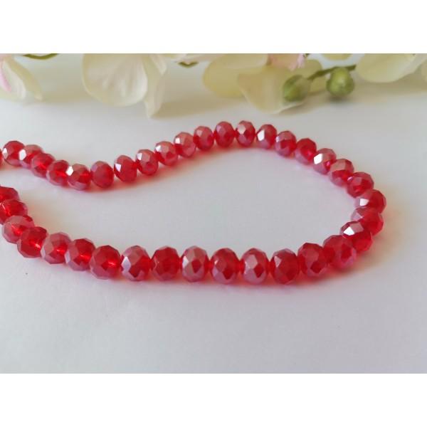 Perles en verre à facette 8 x 6 mm rouge AB x 20 - Photo n°1