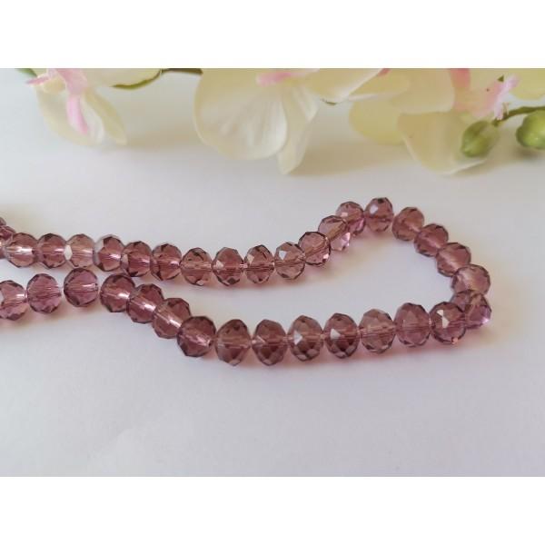 Perles en verre à facette 8 x 6 mm prune x 20 - Photo n°1