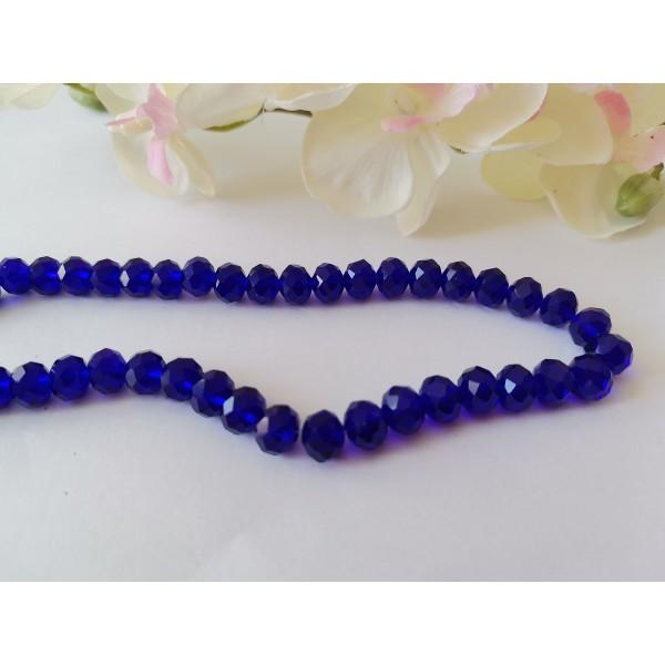 Perles en verre à facette 8 x 6 mm bleu nuit x 20 - Photo n°1