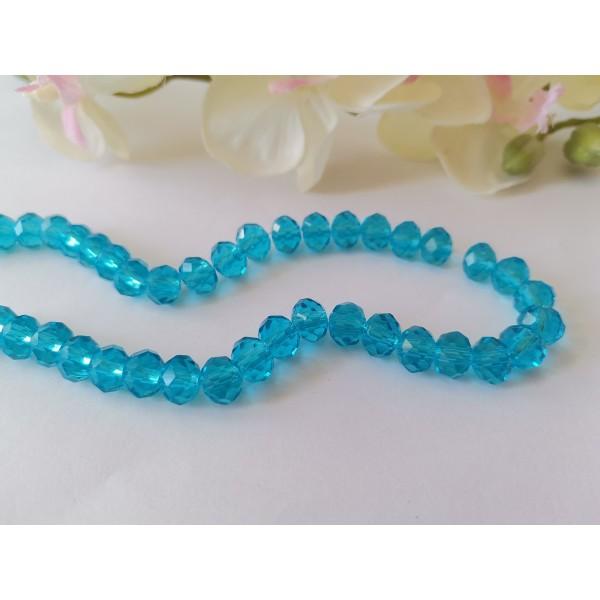 Perles en verre à facette 8 x 6 mm bleu ciel x 20 - Photo n°1