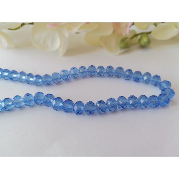 Perles en verre à facette 8 x 6 mm bleu azur x 20 - Photo n°1