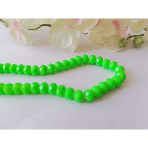 Perles en verre opaque à facette 8 x 6 mm vert fluo x 20 - Photo n°1
