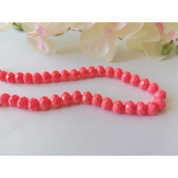 Perles en verre opaque à facette 8 x 6 mm corail x 20 - Photo n°1