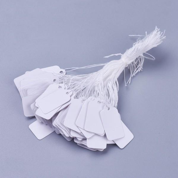 Étiquettes prix blanches avec ficelle x 10 - Photo n°1