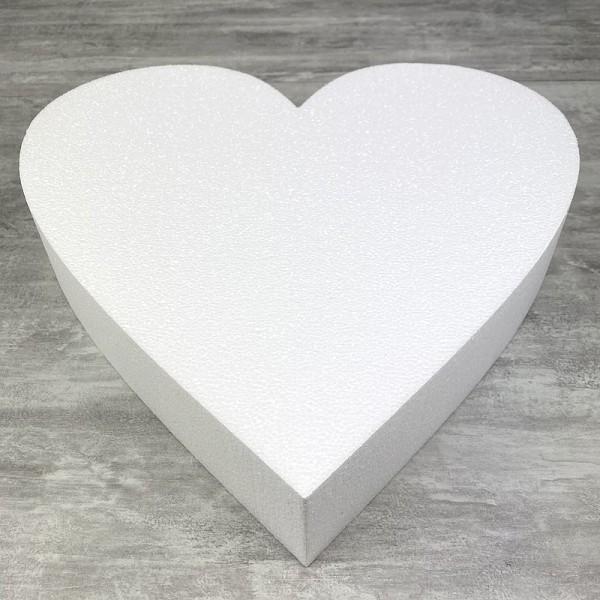 Grand Socle plat Coeur 2D de 45 cm en polystyrène blanc, Largeur 45 cm x Epais. 7cm, 28 kg/ m3, pour - Photo n°1