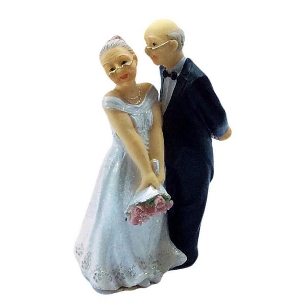 Figurine Couple de Mariés agés, haut. 12,5 cm, Anniversaire Mariage Noces d'Or papy et mamie - Photo n°2