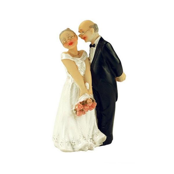 Figurine Couple de Mariés agés, haut. 12,5 cm, Anniversaire Mariage Noces d'Or papy et mamie - Photo n°1