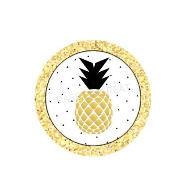 Ananas Doré 2 Cabochons - Photo n°1