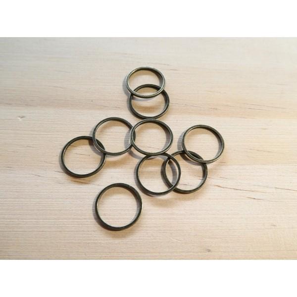 10 Connecteurs ronds fermés 12mm couleur bronze - Photo n°1