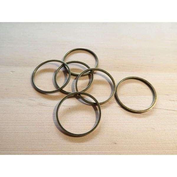 6 Connecteurs ronds fermés 20mm couleur bronze - Photo n°1
