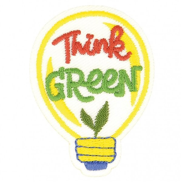 Ecusson thermocollant éco friendly tissu bio Think green 7cm x 5cm - Photo n°1