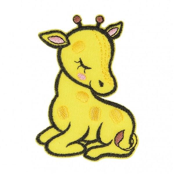 Ecusson thermocollant animal endormi tissu bio girafe 6cm x 4cm - Photo n°1