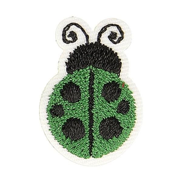 Ecusson thermocollant coccinelle vert 2,5cm x 2cm - Photo n°1
