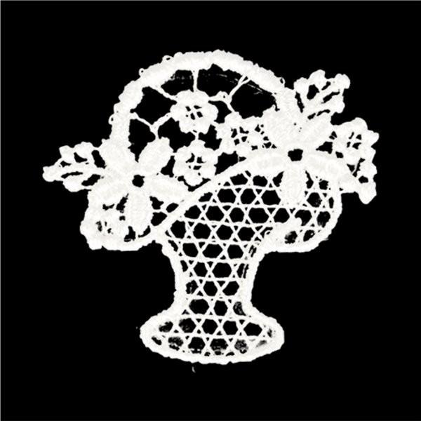 Ecusson thermocollant fleur dentelle pot de fleur 3cm x 3cm - Photo n°1