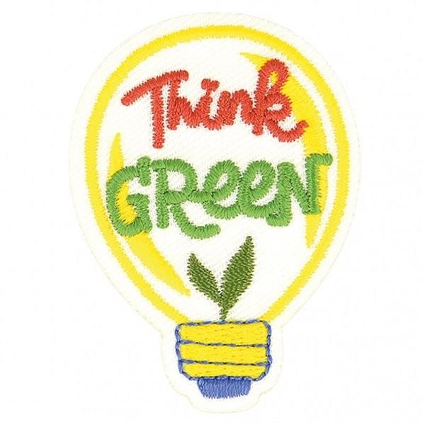Lot de 3 écussons thermocollants éco friendly tissu bio Think green 7cm x 5cm - Photo n°1