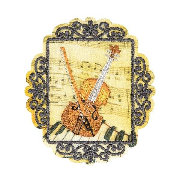 Lot de 3 écussons thermocollants vintage violon 6cm x 5cm - Photo n°1