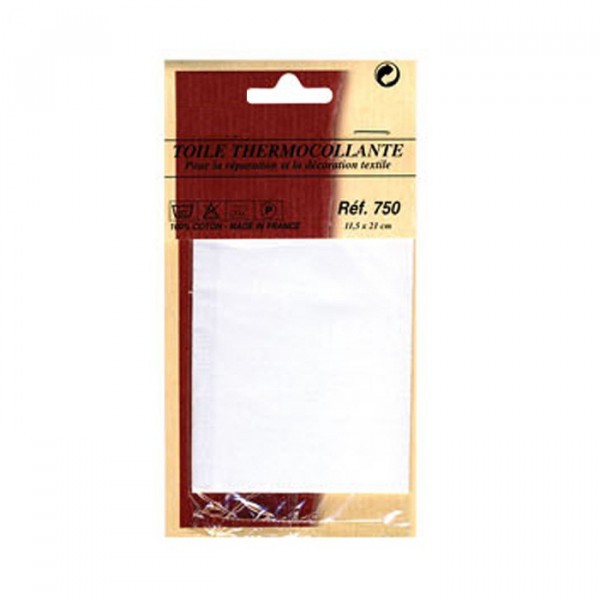 Toile thermocollante grise 100% coton 12x21cm - Photo n°2