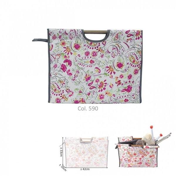 Sac à tricot en tissu matelassé 42cm imprimé rose - Photo n°1