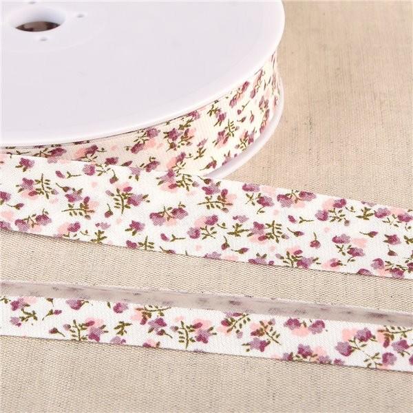 Bobine de biais fleurs coton BIO GOTS 25m Prune - Photo n°1