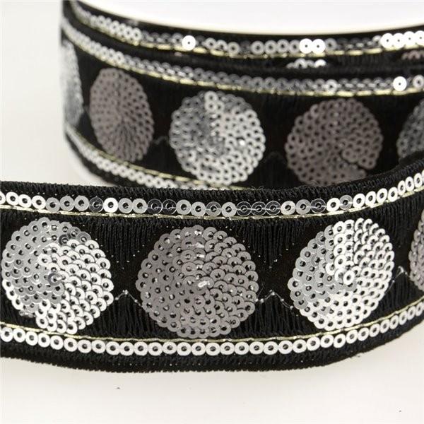 Bobine 10m Galon paillettes cercles 35 mm noir et argent - Photo n°1