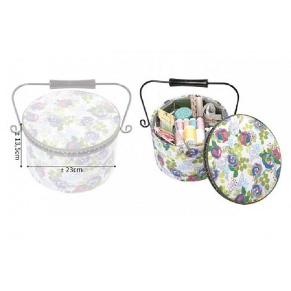 Boîte à couture ronde 22x13,5cm tasses de thé et liberty - Photo n°2