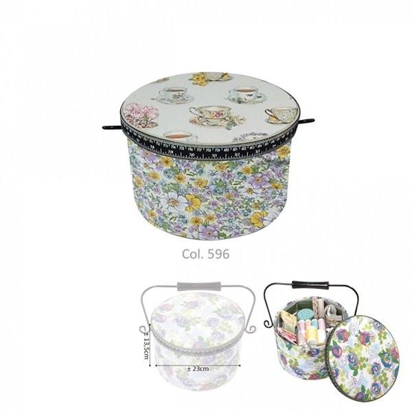 Boîte à couture ronde 22x13,5cm tasses de thé et liberty - Photo n°1