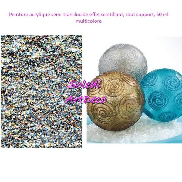 Peinture acrylique semi-translucide effet scintillant, tout support, 50 ml - Photo n°1