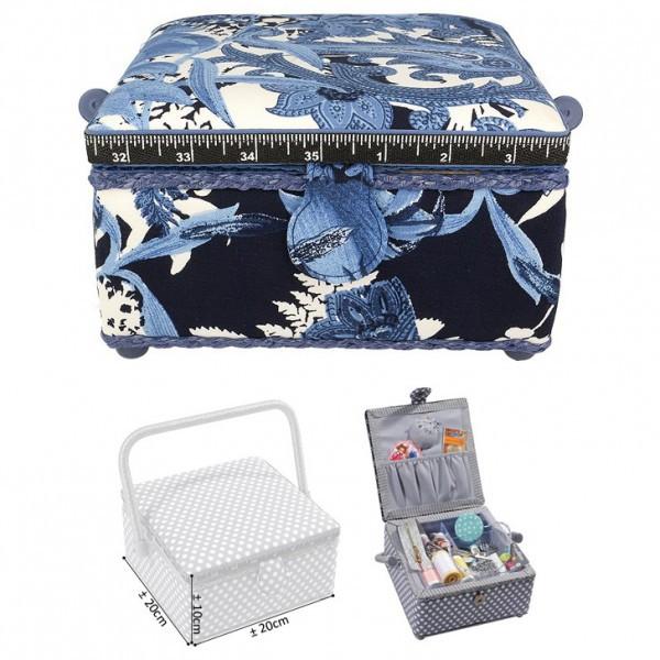 Petite boîte à couture carrée L20xH11cm Fleur bleue de nuit - Photo n°1