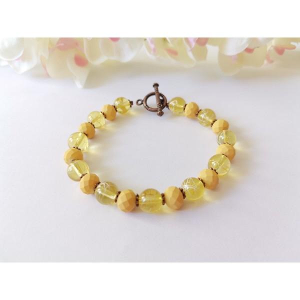 Kit bracelet perles en verre tréfilé et à facette jaune - Photo n°1