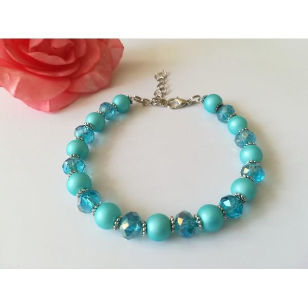 Kit bracelet perles en verre nacré et à facette bleu ciel - Photo n°2