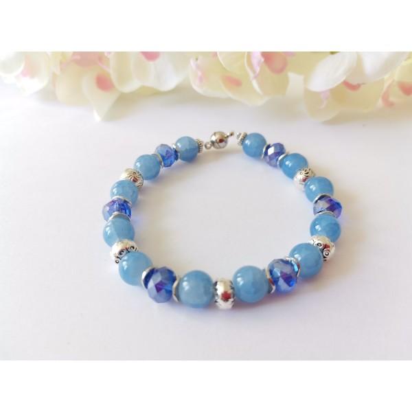 Kit bracelet perles en verre bleu et apprêts argent mat - Photo n°1