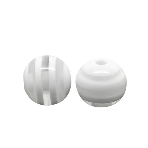 20 Perles en Resine Rayé 8mm Transparent et Blanc - Photo n°1