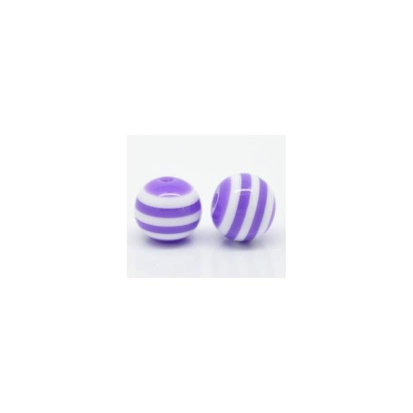 20 Perles en Acrylique Ronde Rayées 8mm Couleur Violet Et Blanc - Photo n°2